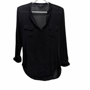 ARITZIA Babaton silk rayon black shirt with adjustable sleeves size XS